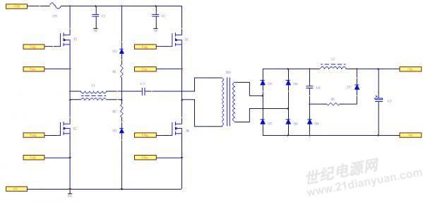 无源钳位移相全桥电路简图(二)