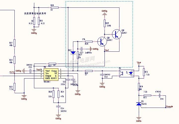 请问uc3845的这个外围电路作用是什么呢?