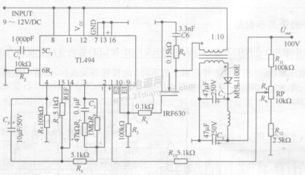 前辈,我用tl494做了个升压电路9v转100v的,怎么测出5脚有三角波输出
