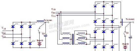 6脉冲与12脉冲的相控整流电路拓扑图