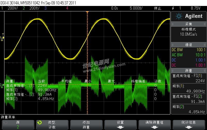 使用填谷PFC做了个电源,输出9W,不知道为什么PF值无法提升,有加和不加PF值相差不大,均小于0.5(220V输入,确切的说没加填谷时PF是0.44,加了填谷后是0.48),测试整流后母线的电压,C1/C2/D5/D6/D7是有正常工作的,请填谷PFC高手援助一下,谢谢