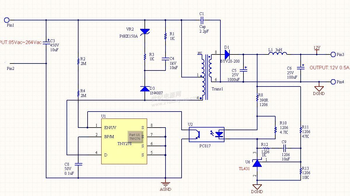 pi公司tny274电路设计之电压反馈环路请教与讨论.