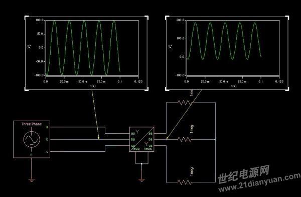 saber中电力变压器的仿真为何结果会有直流偏置?