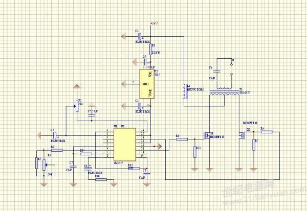 使用ac220v供电的节能灯进行dc 12v~ 36v供电改造,基本的电路原理图为