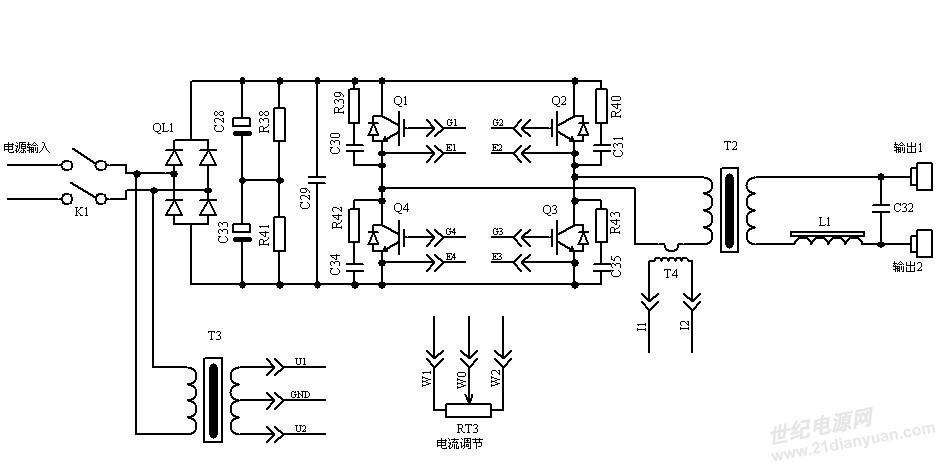 q1 ,q2,q3和q4等电力半导体开关器件管组成中频逆变全桥电路;整流桥