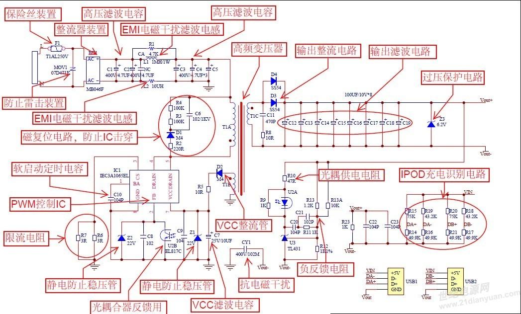 原理图各元器件的作用解释