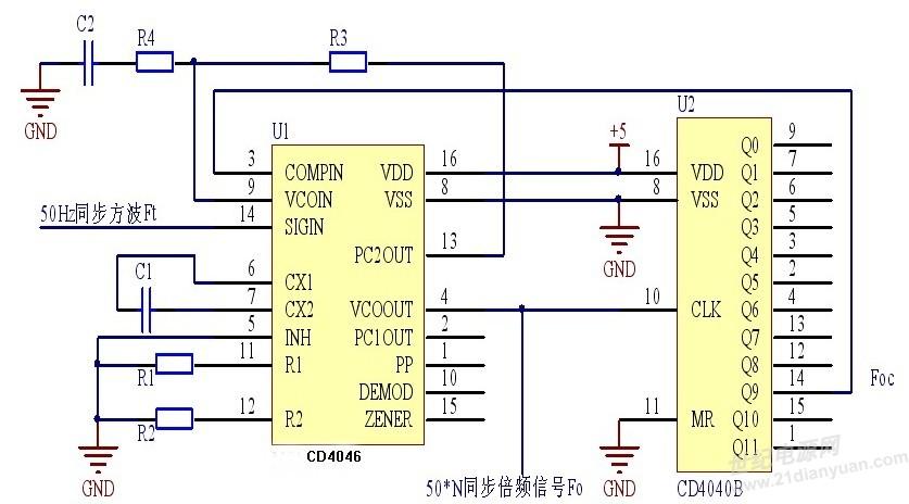 4046实现倍频电路设计
