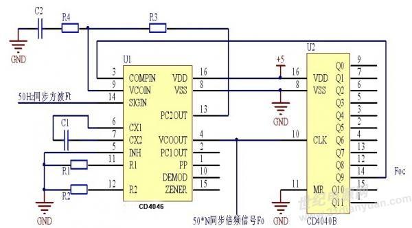 电路设计  使用ti产品及设计过程:本设计采用锁相环芯片cd4046和分频