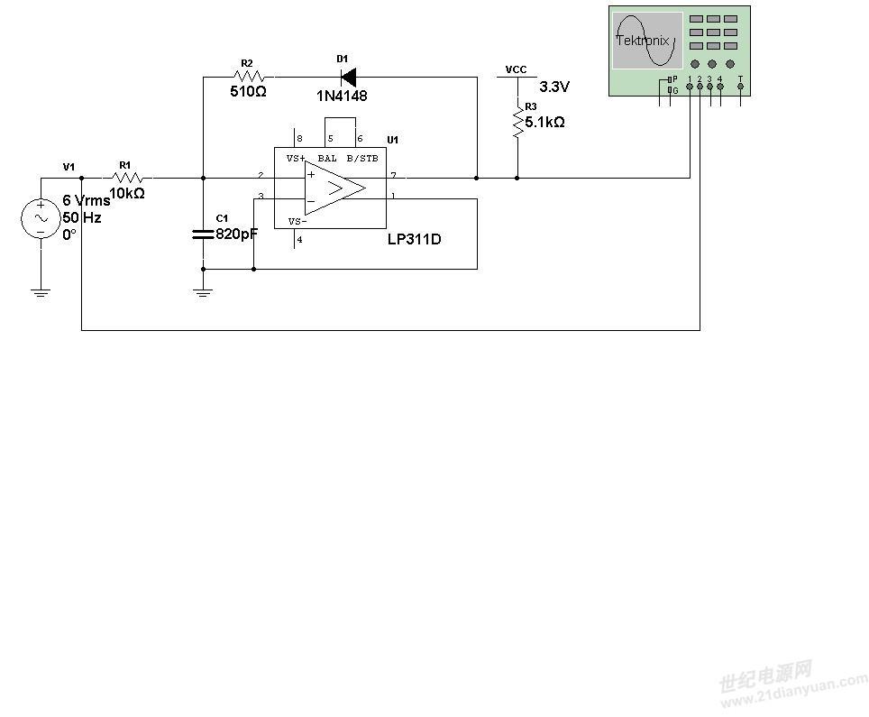 用lp311d搭建的过零比较电路,简单,稳定,抗干扰,设计过程中,对于上拉