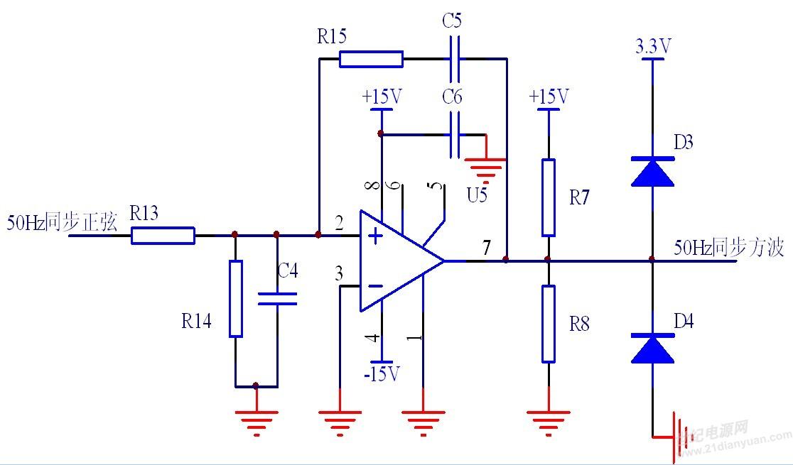 将运放u5接成过零比较器电路,其输出信号为与电网同频同相的方波信号.
