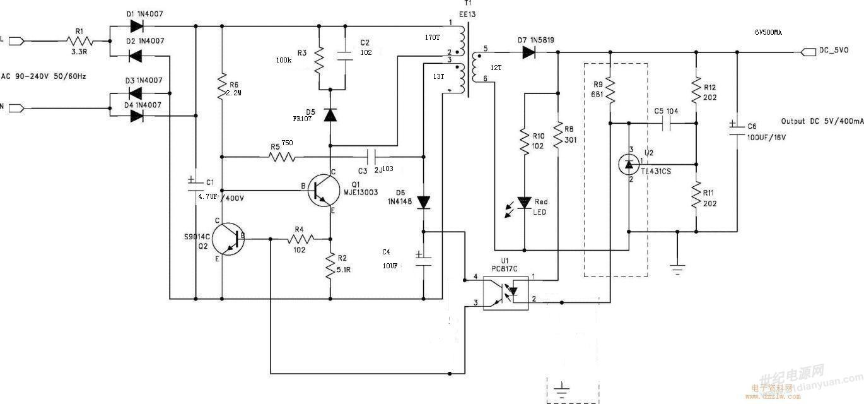 是什么问题.220v输入,6v500ma输出,一插电就炸了.13003是4.3芯片.