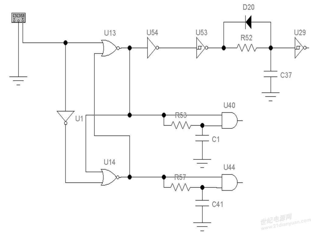 关于CCM模式有源钳位反激变换器的一点点设想 (注:仅仅是设想,没有实际测试过) 1、电路结构  图一 UC3842内部电路结构  图二 实验电路原理图 U1、U54: 74HC04(非门) U13、U14: 74HC02(或非门) U40、U44: 74HC08(与门) U53、U29: 74HC14(施密特触发器) 2、原理介绍: U1、U13的输入端接UC3842的输出端(PIN6脚,也可以是其他PWM-IC)。 U29的输出去次级同步整流(给出高电平关断信号); U40的输出去有源钳位开关; U4
