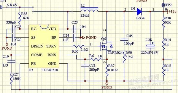 tps40210升压电路低于6.8v就不升压
