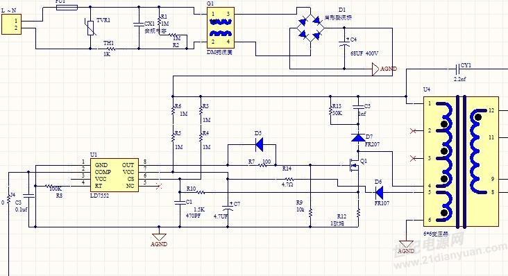 在线求助啊! 芯片ld7552bps构成的电路问题求解