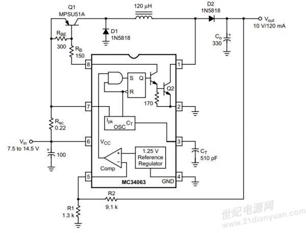 MC34063,4V~18V输入,5V, 200mA-300mA左右输出,按照应用手册AN920/D图18设计,效率只有50%,芯片和电感都比较热。目前电感用的是50KHz,220uH(怀疑较大),开关管BC807,请教DC/DC 高手给与建议: