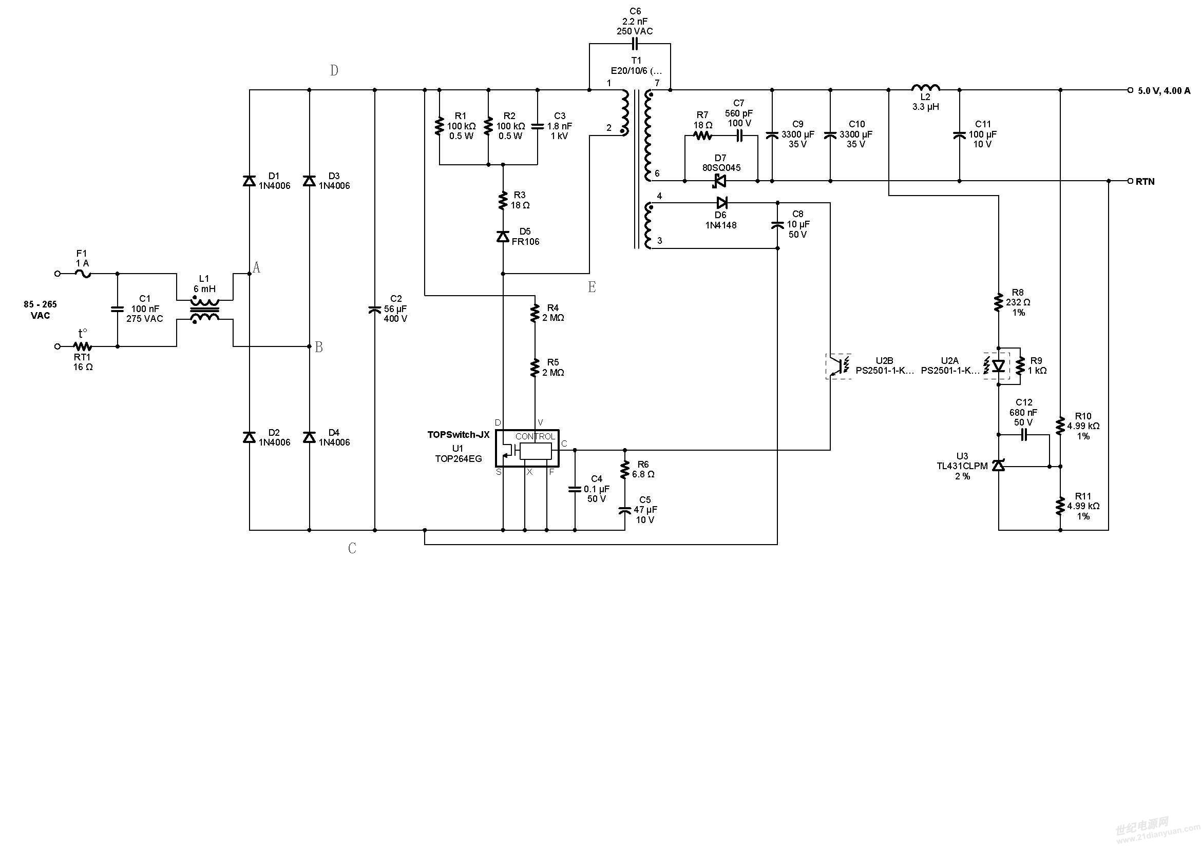 经过电容c2的滤波形成高压直流母线电压,问题在于此时你的示波器如果
