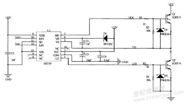 按照图1所示电路焊的电路,igbt的供电电压未加,直接测得ir2110的高