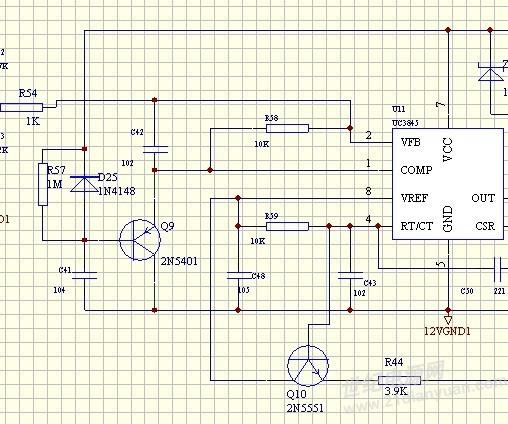 请问uc3845中的q9,和d25的这个电路起到什么作用,是保护电路么?