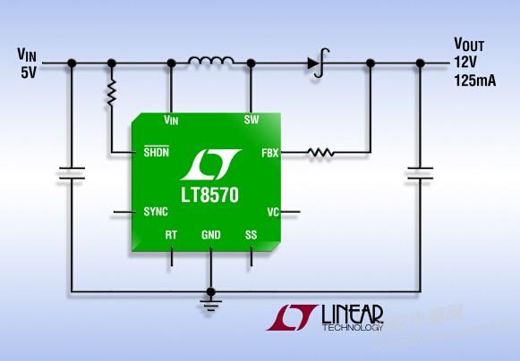 加利福尼亚州米尔皮塔斯 (MILPITAS, CA)  2015 年 3 月 5 日  凌力尔特公司 (Linear Technology Corporation) 推出电流模式、固定频率升压型 DC/DC 转换器 LT8570 和 LT8570-1。LT8570 采用一个内部 500mA、65V 开关,而 LT8570-1 则采用一个 250mA、65V 开关。两款器件均在 2.