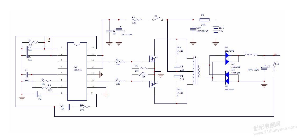 利用sg3525制作的dc-dc升压闭环电路中闭环电路的设计