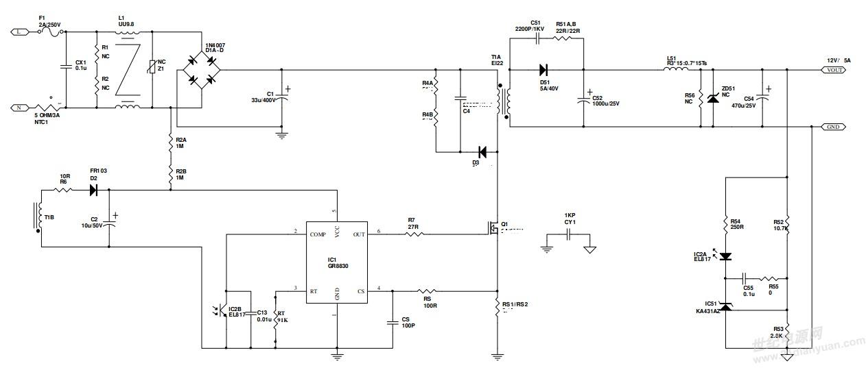 用GR8830做的60W(12V5A)适配器电源MOS,变压器,输出整流肖特基(环境温度为26度时这些的温度为80度左右),吸收二极管温度高不知道是什么原因,请大师们帮分析下哪些情况会引起温度过高?谢谢 电路图如下。