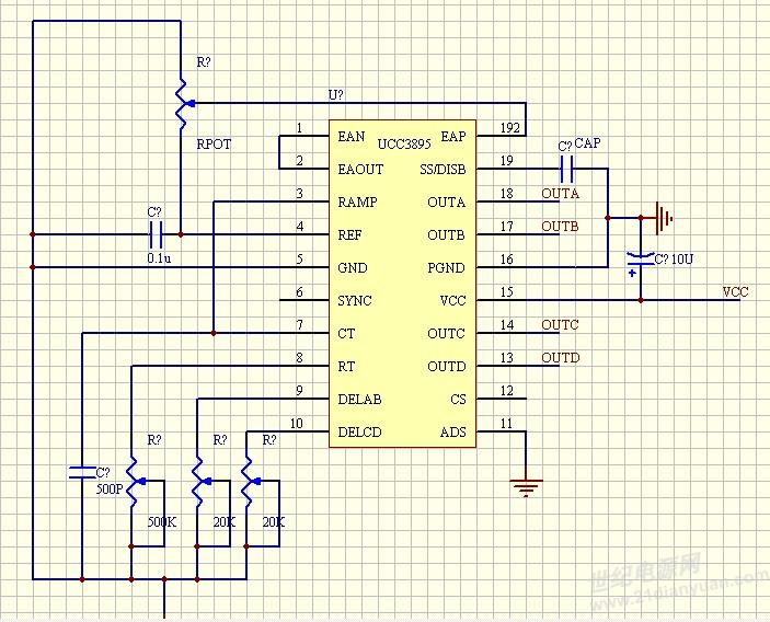 求助:ucc3895最小系统输出四路波形一样