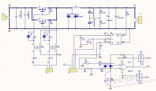 现在问题就是做闭环控制的时候利用分压电路采集电压,经过358运放进行阻抗匹配, 现在358运放输出一直不正常,当输入电压提高的运放就向负方向去,为了找出原因现在用霍尔电压传感器直接把主回路隔离开,还是一样的问题。(运放供电电源都正常) 有没有遇见这样的现象的 给解释下原因 输入220vac 输出240vdc sg3525a 的f=100khz 脉冲变压器驱动两个mosfet交错导通,相当于主电路的开关频率就是200khz 电感用到1.