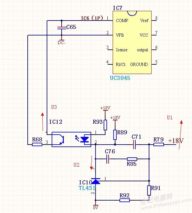 3845外围电路图如下所示,当反激电源输出电压高于正常值时,u1升高,u2