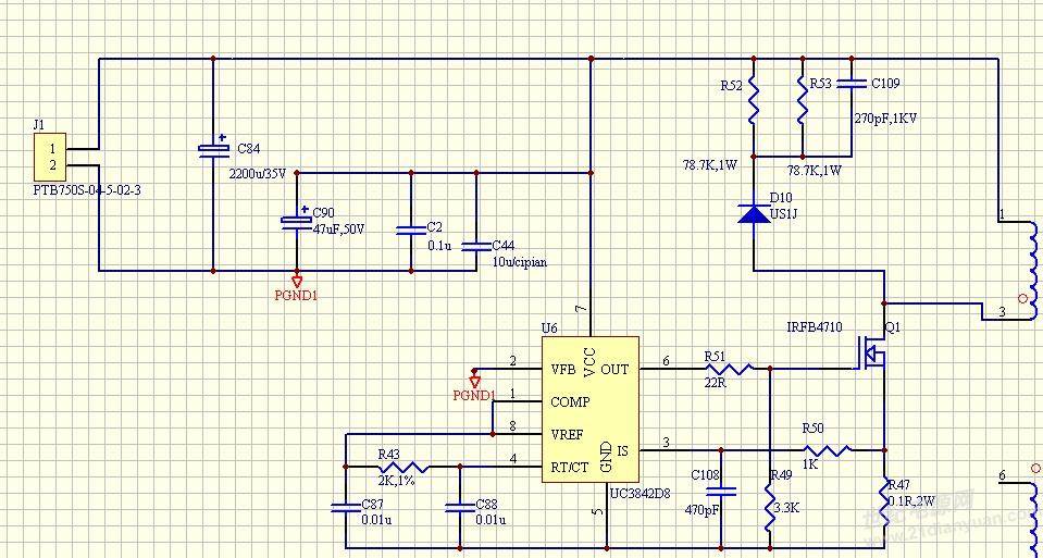 设计了一个反激开关电源,功率3W,输入24VDC,输出15VDC,选择100V的MOS管,经计算变压器匝比是3:1,但是缠好之后将变压器装到电路上MOS管两端的电压就达到120V,不知什么原因,正常应在45V至50V之间,望各位帮助解答。谢谢! 电路图  MOS管DS端电压