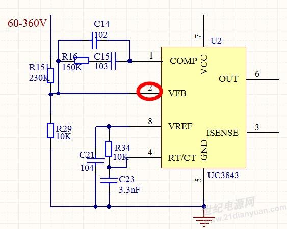 我用uc3843来做boost升压电路,输入电压范围是60~360v.