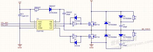 电路期望实现输出一个高压的高频脉冲,输入的信号时相位相反的1MHz的方波。由于目前处于测试阶段,就先给MOS管加一个32V的低电压。电路图如下:  现在输出的脉冲不稳定,这个周期输出的是方波,下个周期或者个几个周期输出的就是三角波甚至没有输出。示波器采集到有输出时的波形如下图所示。  想问下各位大牛:1、为何输出不稳定?(我检测过驱动芯片那级的输出时稳定的) 2、产生的高低电平为何都是斜的?如何消除?