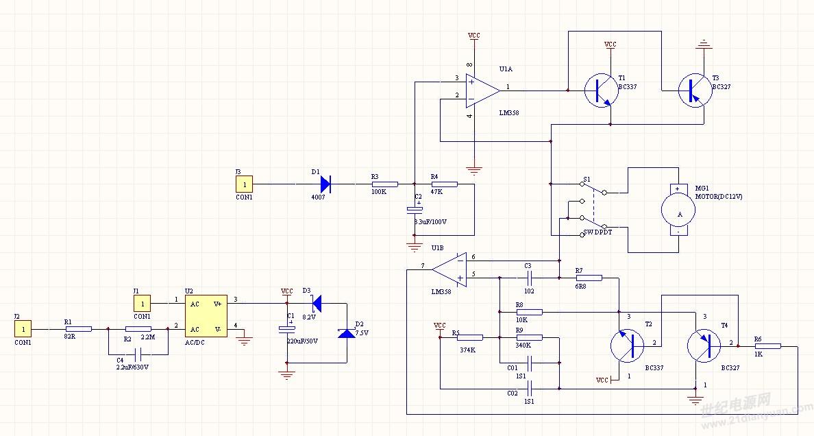 下面是没改之前全部原理图.控制电机正反转.