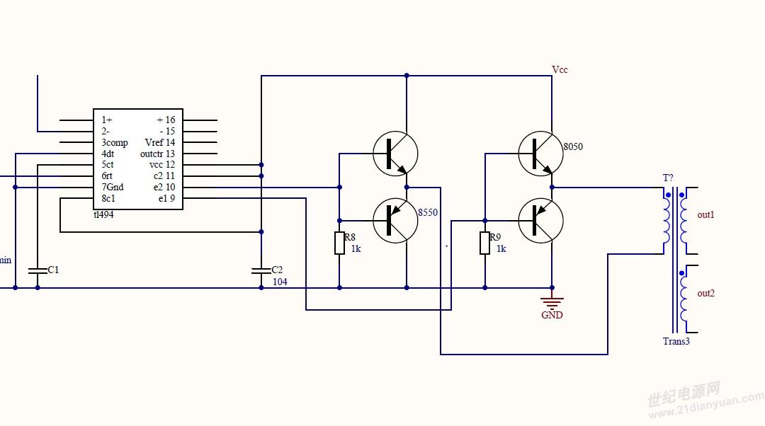 求tl494通过驱动变压器推场效应管的半桥电路_电源_网