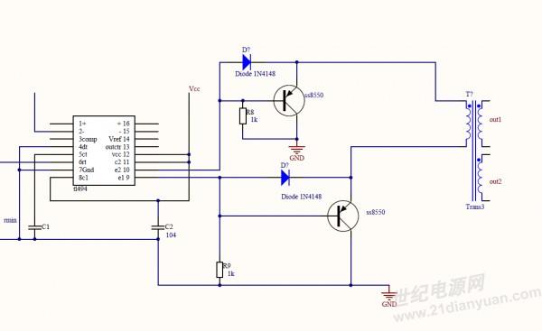 求tl494通过驱动变压器推场效应管的半桥电路