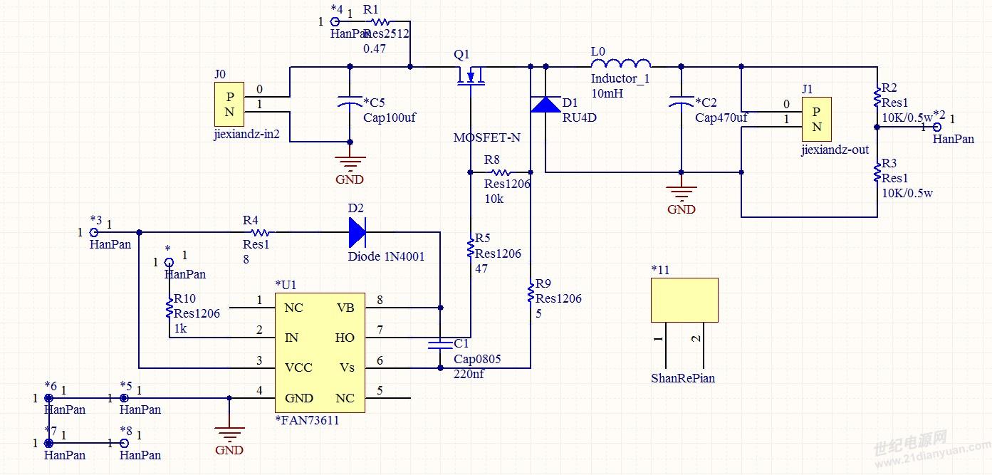 电源书籍下载 历届会议资料  使用fan7361设计了一个buck驱动,电路如