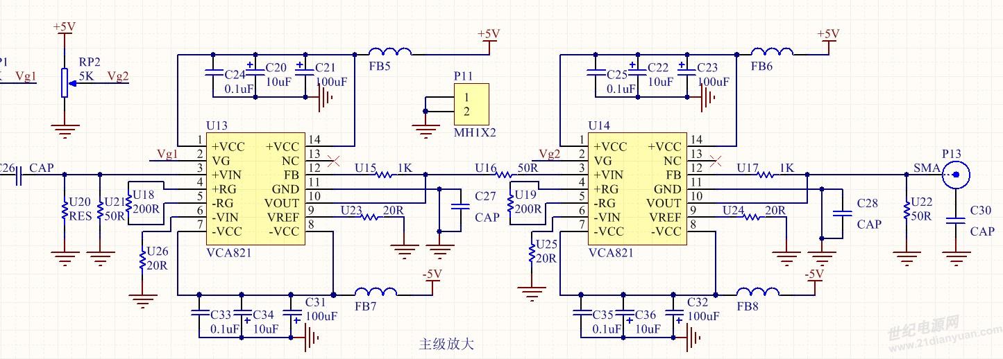 最近在设计宽带放大器(带宽在3khz~100mhz),主级电路图如下,vca821是