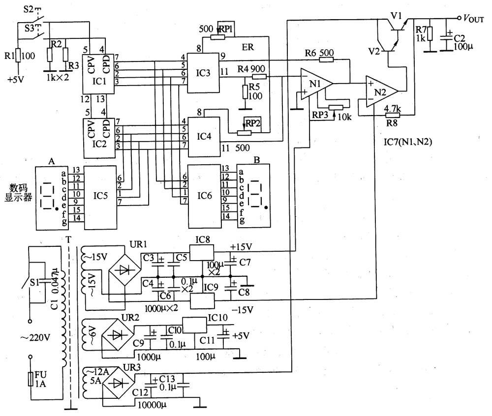 电路工作原理   该可调直流稳压电源电路由电源稳压电路、操作控制电路、显示驱动电路、数/模 (D/A)转换电路和调整输出电路组成,如图所示。   电源稳压电路由电源开关Sl、熔断器FU、电源变压器T、整流桥堆URl-UR3、电容器C、C3-C13和稳压集成电路IC8-IClO组成。   操作控制电路由电源调整按钮S2、S3、电阻器Rl-R3和可逆计数器集成电路ICl、IC2组成。   显示驱动电路由LED数码显示器A、B和译码驱动集成电路IC5、1C6组成。 数/模转换电路由DAC集成电路IC3、1C4