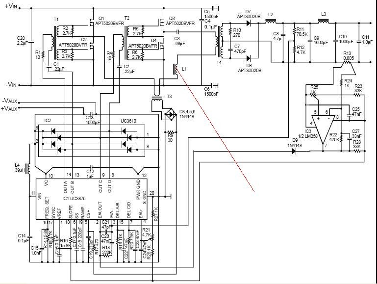 讨论uc3875的1000w软开关电源评估板电路原理图